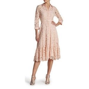 Nanette Lepore Blush Lace Belted Fit & Flare Dress